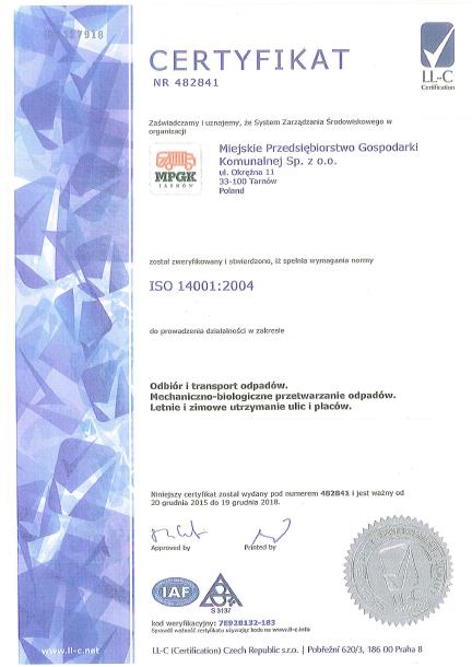 Certyfikat ISO 14001:2004